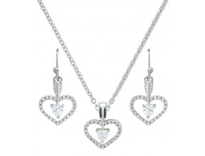 Montana Silversmith's Open Heart Jewelry Set with Cubic Zirconia Arrow