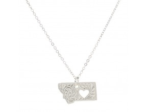 Montana Silversmith's Engraved State of Montana Necklace with Cut-out Heart
