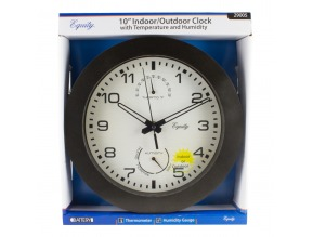 "10"" Indoor/Outdoor Wall Clock w/ Temperature & Humidity"