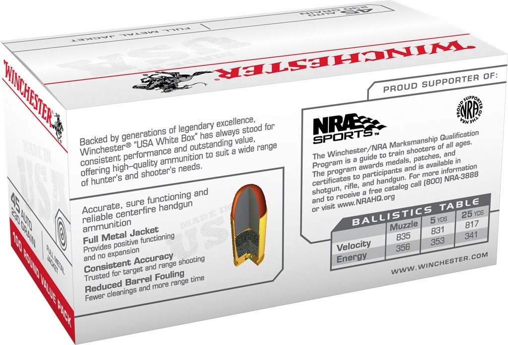 Winchester USA 45 ACP 230 Grain Full Metal Jacket