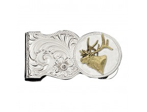 Montana Silversmith's Elk Head Scalloped Money Clip