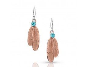 Montana Silversmith's Gift of Rose Gold Freedom Feather Earrings