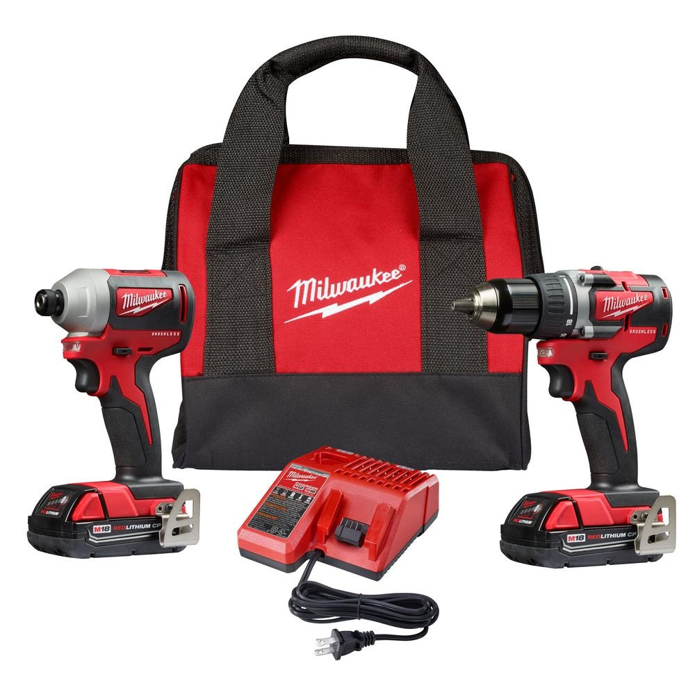Milwaukee M18 18-Volt Lithium-Ion Brushless Cordless Compact Drill/Impact Combo Kit