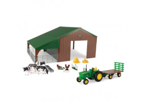 1:32 Shed John Deere Tractor Wagon with Animals