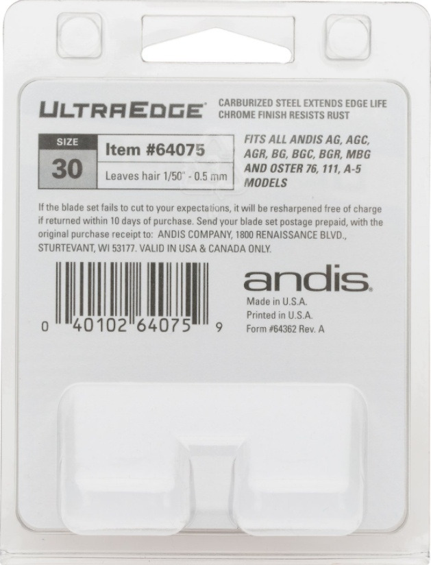 Andis UltraEdge Detachable Blade #40 Back of Package