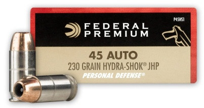 Federal Premium Personal Defense 45 ACP AUTO 230 Grain Hydra-Shok Jacketed Hollow Point Info