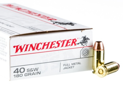 Winchester USA 40 S&W 180 Grain Full Metal Jacket
