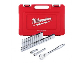 "Milwaukee 1/2"" Drive 28pc Ratchet & Socket Set - Metric"